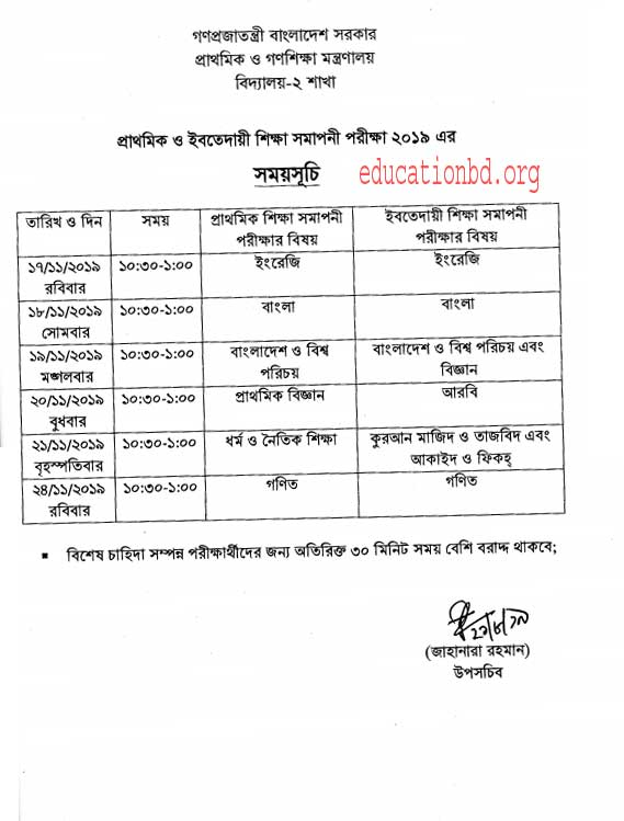 PSC Exam 2019 Jessore Board
