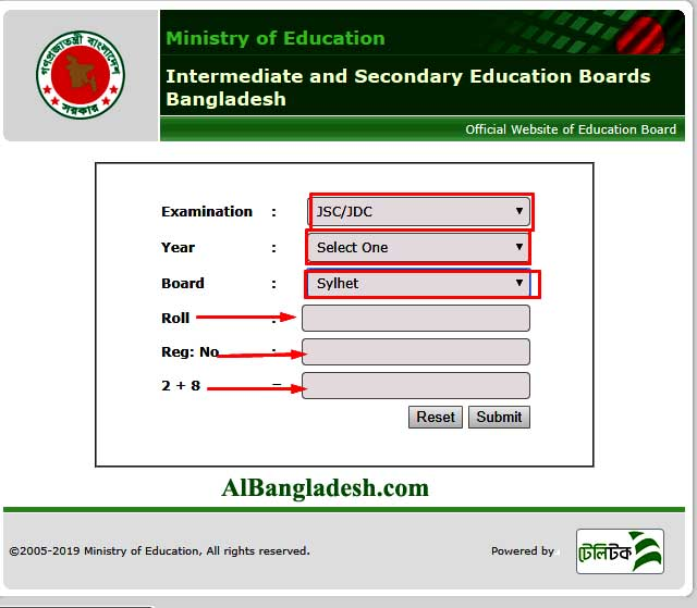 Sylhet board JSC Result 2019 with marksheet