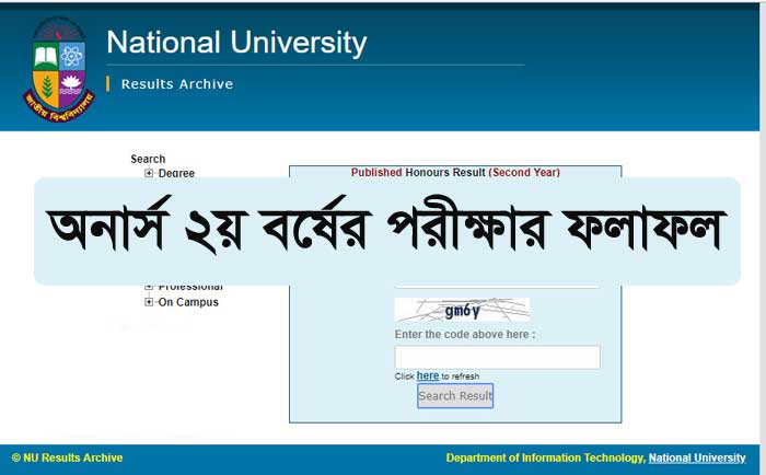 NU Honours 2nd Year Result 2020 of Session(2017-18)