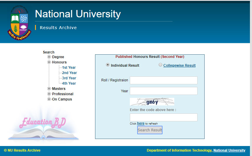Honours 2nd year result online