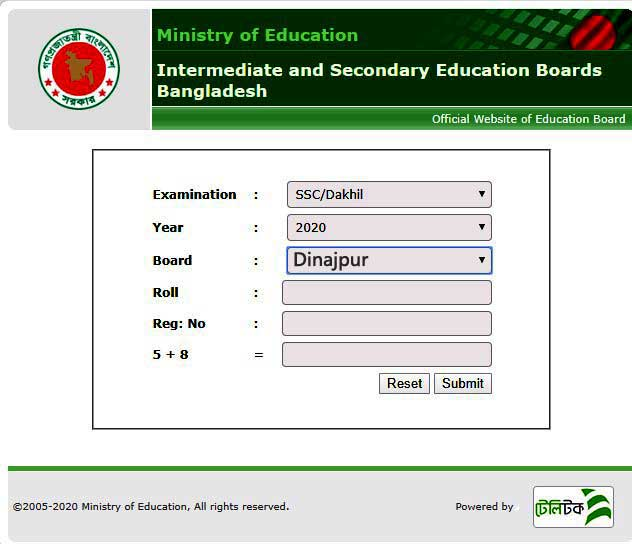 SSC result 2020 Dinajpur  Education Board