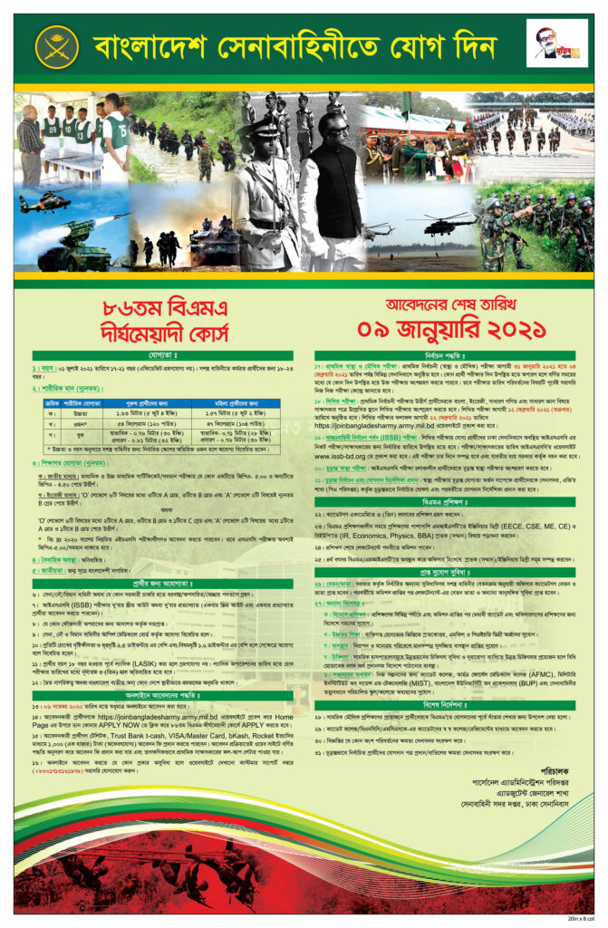 Bangladesh Army Commissioned Officer Job Circular 2021