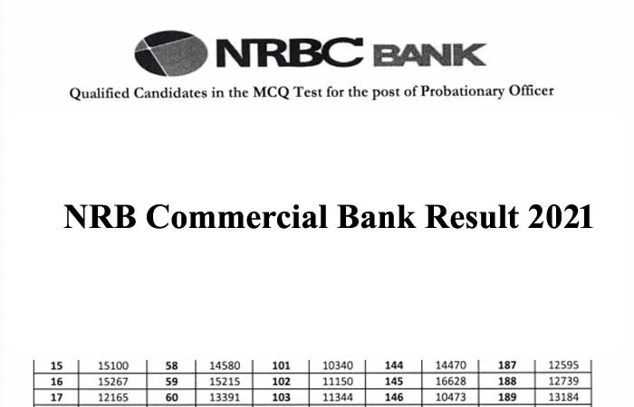 NRB Commercial Bank Exam Result 2021