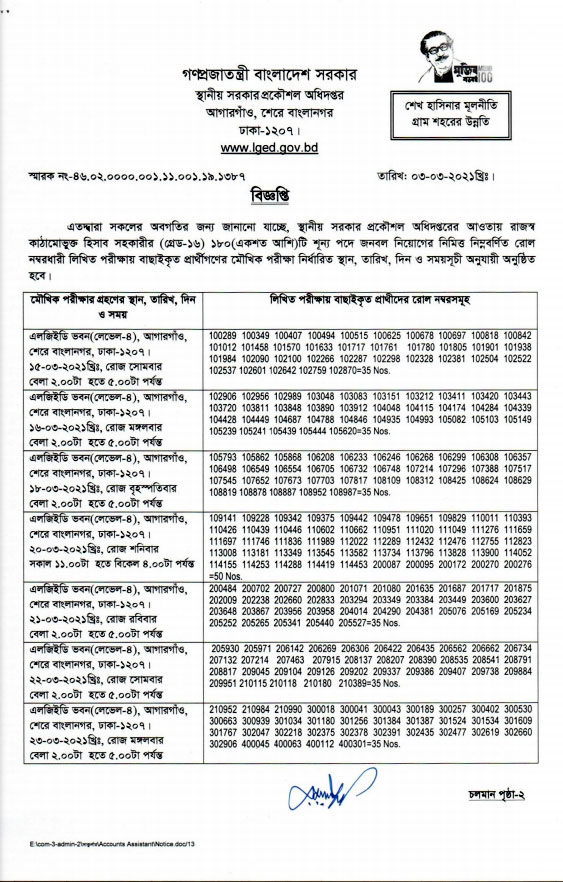 LGED Accounting Assistant Exam Result 2021