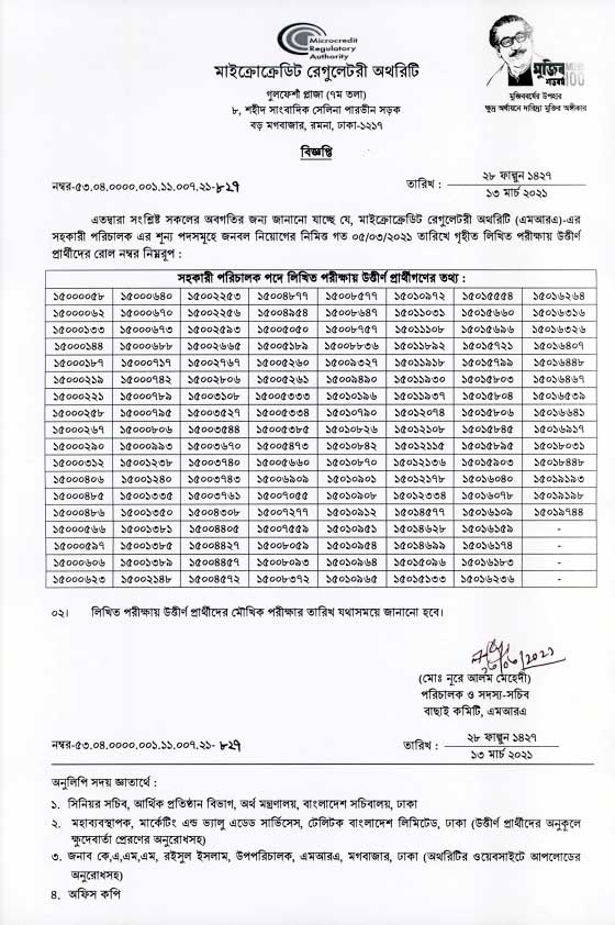 MRA Assistant Director Exam Result 2021