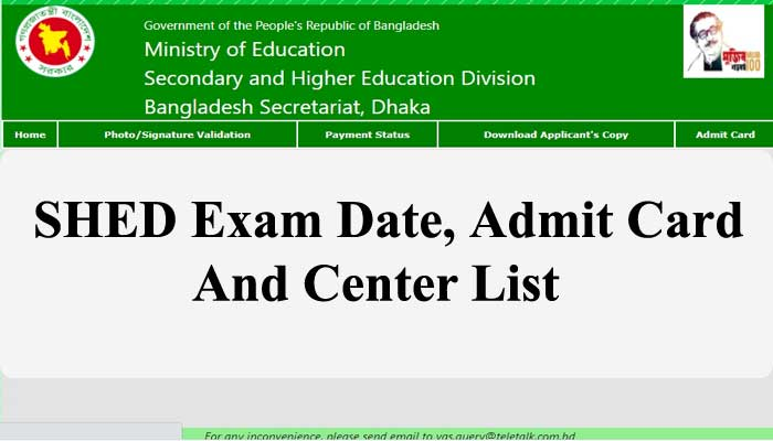 SHED Exam Date 2021, Exam Center & Admit Card Download