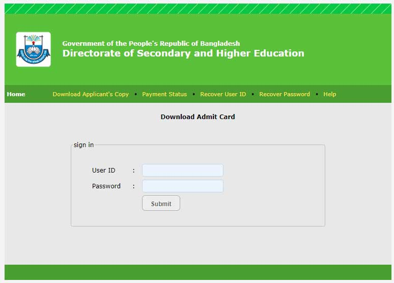 DSHE Admit Card 2021 Download