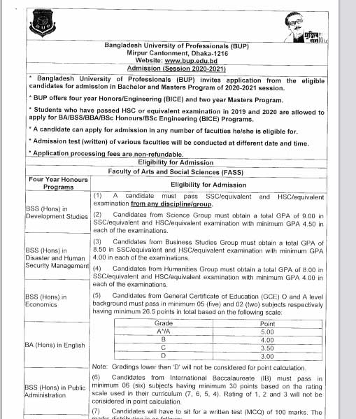 BUP Faculty of Security and Strategic Studies (FSSS) Admission Result 2021