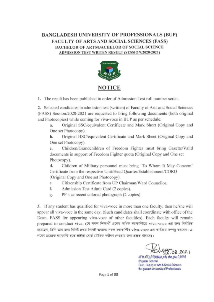 BUP FASS Admission Result 2021