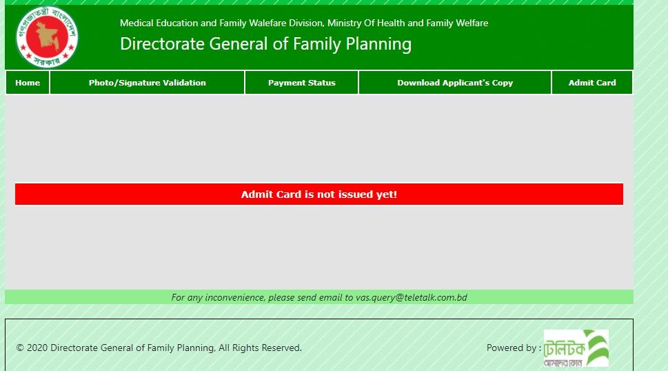 DGFP Admit Card 2021 Download
