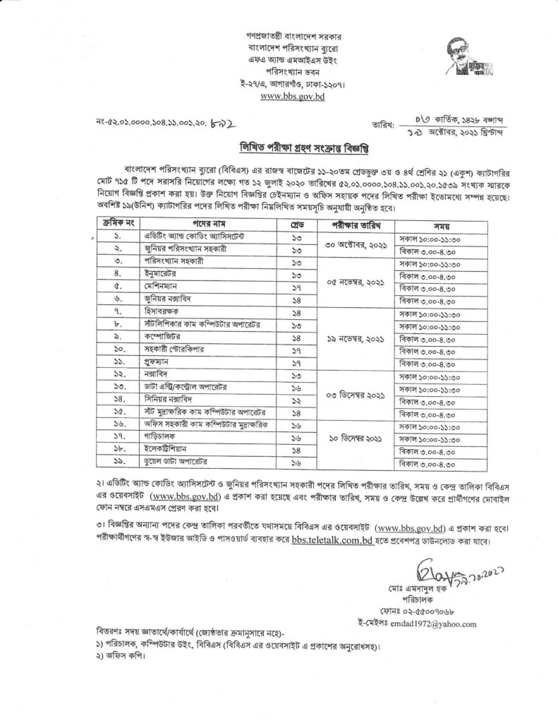 BBS Statistical Assistant Exam Date 2021